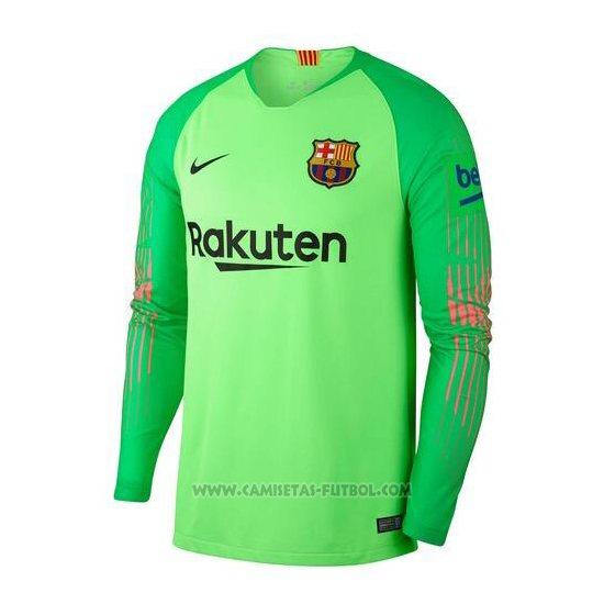 Camiseta Barcelona Manga Larga 2018-2019 Verde cced228945ac4